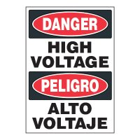 ToughWash® Adhesive Signs - Danger High Voltage (Bilingual)
