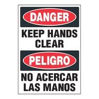 ToughWash® Adhesive Signs - Keep Hands Clear (Bilingual)