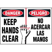 Bilingual Hazard Labels - Danger Keep Hands Clear
