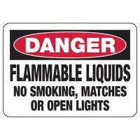 Danger Flammable Liquids No Smoking Sign