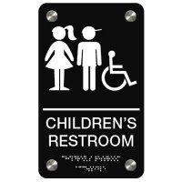 Children's Restroom (Boy/Girl Accessibility Symbols) - Premium ADA Braille Restroom Signs
