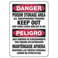 Bilingual Danger Poison Storage Area Sign