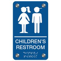Children's Restroom (Boy/Girl Symbols) - Premium ADA Braille Restroom Signs