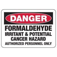 Danger Formaldehyde Irritant Cancer Hazard Sign