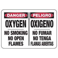 Bilingual Oxygen No Smoking No Flame Sign