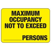 Maximum Occupancy Not To Exceed Persons Capacity Signs