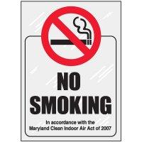 Maryland No Smoking Window Decal
