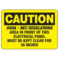 Electrical Safety Signs - Caution OSHA-NEC Regulations For Electrical Panel