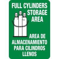Bilingual Full Cylinder Storage Area Sign