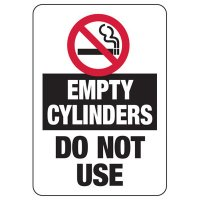No Smoking Empty Cylinders Sign