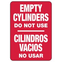 Bilingual Empty Cylinders Safety Sign