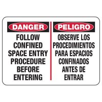 Bilingual Danger Confined Space Procedure Sign