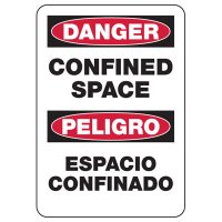 Bilingual Danger Confined Space Sign