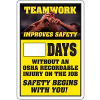 Dry Erase Safety Tracker Signs - Teamwork Improves Safety