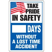 Dry Erase Safety Tracker Signs - Take Pride In Safety