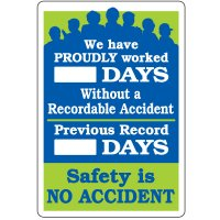 Dry Erase Safety Tracker Signs - We Have Proudly Worked __ Days Without A Recordable Accident