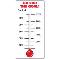 Dry Erase Safety Tracker Signs - Go For The Goal Our Goal __ Thermometer With Labeled Gradients
