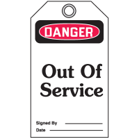 Danger Out Of Service - Accident Prevention Safety Tags