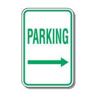 Parking Sign With Directional Arrow