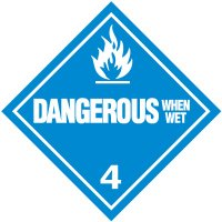 Dangerous When Wet 4 D.O.T. Placards