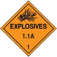 1.1A DOT Explosive Placards