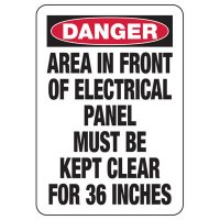 Electrical Safety Signs - Danger Keep Electrical Panel Clear for 36 Inches Signs