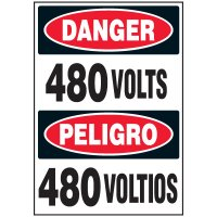 Voltage Warning Labels - Danger/Peligro 480 Volts/Voltios