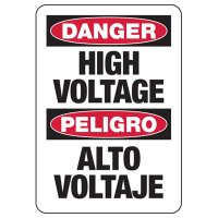 Electrical Safety Signs - Bilingual Danger High Voltage