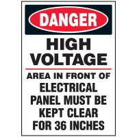 Voltage Warning Labels - Danger High Voltage Keep Clear
