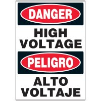 Bilingual Danger High Voltage Electrical Label