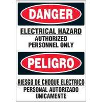 Voltage Warning Labels - Bilingual Danger Electrical Hazard