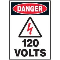 Voltage Warning Labels - Danger 120 Volts
