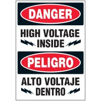 Voltage Warning Labels - Bilingual Danger High Voltage Inside