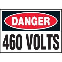 Voltage Warning Labels - Danger 460 Volts