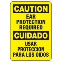 Bilingual Caution Ear Protection Required Sign
