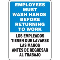 Employees Must Wash Hands Before Returning to Work - English/Spanish, Eco-Friendly Sign