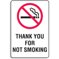 "Plastic Thank You For Not Smoking Signs w/Graphic - 6""W x 9""H"