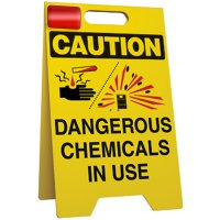 Caution Chemicals In Use Floor Stand
