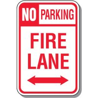 Fire Lane Signs - No Parking Fire Lane with Double Arrow
