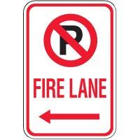 Fire Lane Signs - Fire Lane (Left Arrow & No Parking Symbol)
