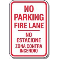 Bilingual No Parking Fire Lane Sign