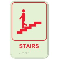 Glow In The Dark ADA Stairs Sign