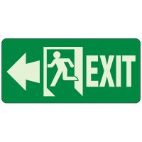 Glow In The Dark Exit To The Left Sign