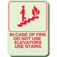 Glow In The Dark Fire Use Stairs Braille Signs