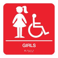 Girls (Accessibility) - Braille Restroom Signs