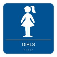 Girls - Braille Restroom Signs