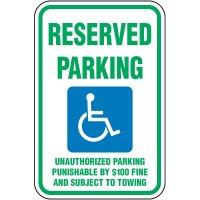 Reserved Parking Unauthorized Punishable Sign