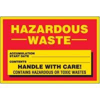 Red Hazardous Waste Labels