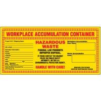 Workplace Accumulation Hazardous Waste Labels