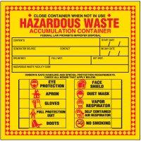 Hazardous Waste Accumulation Labels